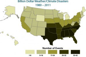 weather/climate disasters map