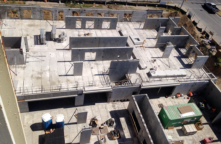 Aerial view of the parking garage construction